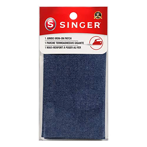 Singer Jumbo Iron-on Denim Patch, 8-Inch by 10-Inch