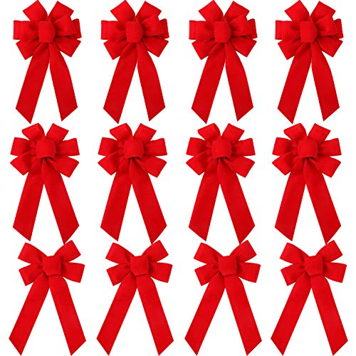 WILLBOND 12 Pieces Red Velvet Christmas Bows 5.9 x 9.8 Inches Xmas Wreaths Bows Decorative Red Bows for Christmas Indoor and Outdoor Decorations, 3