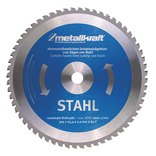 Metallkraft Sägeblatt für Stahl (ø 305 mm, Bohrung 25,4 mm, Schnittbreite 2,4 mm, 60 Z, für Metall-Trockenschneider MTS 356) 3853051