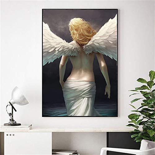 NSRJDSYT Modern Angel Girl Stampe su Tela Wall Art Decorazione Camera da Letto Pittura Astratta Cuadros Home Decor Pictures Art Canvas Painting-50x75cm Senza Telaio