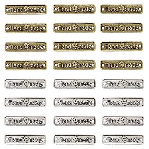 Aabellay 60 piezas de aleación hecha a mano de metal etiquetas hechas a mano colgante para hacer joyas de bricolaje, manualidades, hallazgos de regalo 25 x 6 mm rectángulo bronce plata