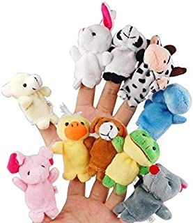 LEORX 10pcs Different Cartoon Animal Finger Puppets Soft Velvet Dolls Props Toys