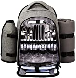 Hap Tim - Waterproof Picnic Backpack for 4 Person with Cutlery Set, Cooler Compartment, De...