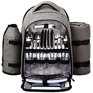 Hap Tim Picnic Basket Backpack for 2 Person with Insulated Leak Proof Cooler...