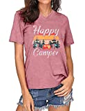 Happy Camper Shirt for Women Funny Graphic Tee Cute Camping Hiking Gift T Shirt V Neck Casual Short Sleeve Tee Tops (Pink, XL)