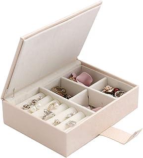 QinWenYan Boîte de Rangement de Bijoux Étui à Bijoux Collier Bague de Rangement Bijoux boîte de Rangement en Cuir Vintage ...