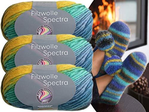 Gründl 3x100 Gramm Filzwolle Spectra aus 100% Schurwolle, (Sparset 01 Türkis Blau Schwarz) inkl. Strickanleitung für Filzhausschuhe + 3 Strasssteine zum aufnähen