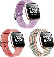 コンパチブル Fitbit Versa 時計バンド Classicase ウーブンナイロンバンド レザー メタルクラスプ おしゃれ ベルト (3PCS D)
