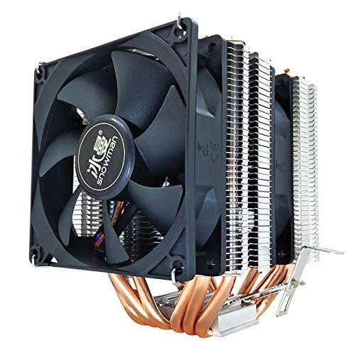 6 tubos de calor CPU Cooler RGB 90mm PWM de 4 pines PC tranquila for Intel LGA 775 1150 1151 1155 1366 AMD AM2 AM3 AM4 ventilador de la CPU ( Blade Color : No light , Blade Quantity : 2 Fan 4Pin PWM )
