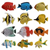 TENDOC Pack of 12 Plastic Model Tropical Fish Toys Set PVC Multi-colored Fish Toys for Kids Children Educational Learning Toys Tank Bath Use