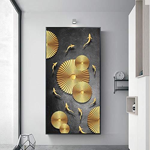 Pintura de pared de estilo chino lienzo artístico póster abstracto pinturas de peces dorados para carteles de decoración de pared de pasillo 40X80cm sin marco