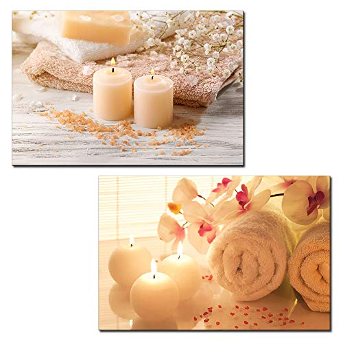 wall26 – 2 Panel Canvas Wall Art – Spa Still Life with Candles and Towels