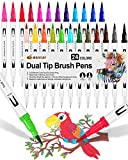 24 Pennarelli Punta Fine, Dual Brush Pen con Punta Fine 0,4 mm e 1-2mm Punta Brush, Penne da Colorare ad Acquerello per Adulti Bullet Journal, Lettering, Calligrafia, Colorare e Disegnare