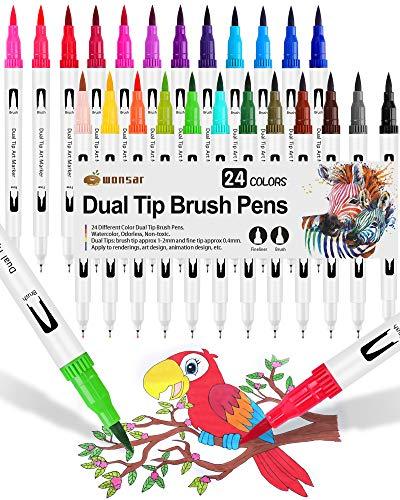 24 Pennarelli Punta Fine, Dual Brush Pen con Punta Fine 0,4 mm e 1-2mm Punta Brush, Penne da Colorare ad Acquerello per Adulti Bullet Journal, Lettering, Calligrafia, Colorare e Disegnare