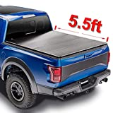 Mamoru Hard Quad-Fold Solid Tonneau Cover For 2015-2021 Ford F-150 5.5ft Truck Bed Cover   Fleetside