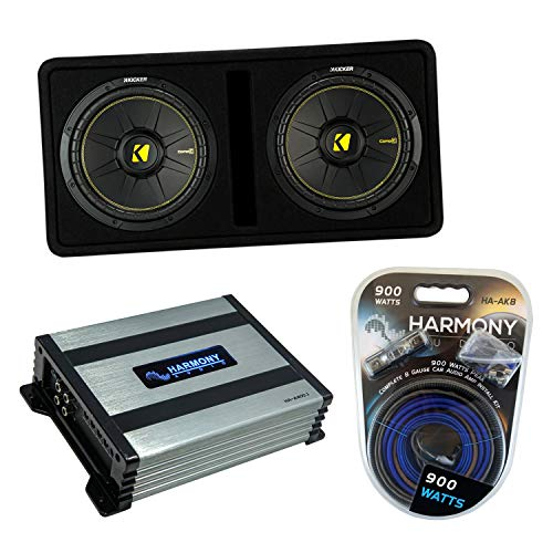 Kicker Bundle Compatible with Universal Vehicle 44DCWC122 Dual 12' Loaded Ported Sub Box with A400.1 Amplifier and HA-AK8 8Ga Amp Install Kit
