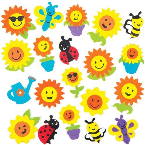 Baker Ross- Pegatinas de Espuma con Diseños de Girasoles e Insectos (Pack de 120) para Decorar Tarjetas, Cuadernos, Manualidades y Collages Infantiles