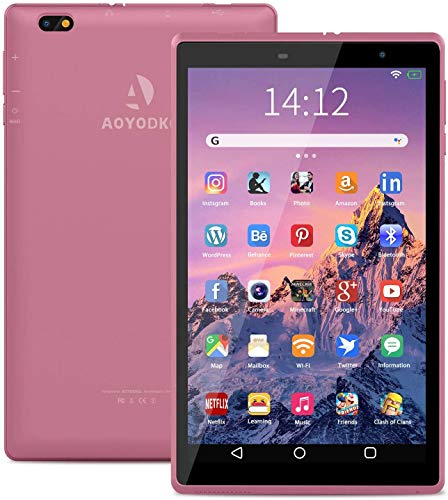 Tablette 8 Pouces Android 10.0, 3Go RAM 32Go ROM Tablette Tactile 1.6Ghz Quad Core WiFi 5000mAh Tablet PC Google Play Netflix Youtube (Rose)