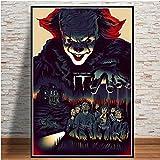 yhyxll Decoración casera Moderna Impreso en Lienzo Stephen King Pennywise Thriller Pintura Arte de la Pared Imágenes Cartel nórdico para Sala de Estar E 38x50cm