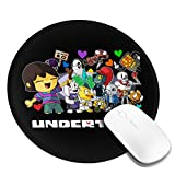 Maxgh Undertale Sans Mouse Pad, Round Mouse Mat, Cute Mouse Pad with Design, Non-Slip Rubber Base Mousepad with Stitched Edge, Waterproof Office Mouse Pad, Size 7.9 X 7.9 X 0.1 Inch Black 1 Pcs