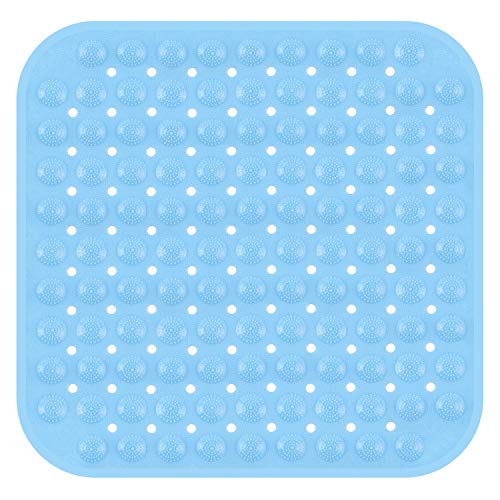 SIHOHAN Duschmatte, rutschfest Duscheinlage antibakterielle Badematte, Dusche Antirutschmatte mit Saugnäpfen, maschinenwaschbar Badewannenmatte 47x47cm (Blau)