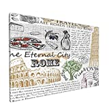 Arte de pared,Queso Cuchillo Vino Roma Botella Italia Sello,pinturas al óleo enmarcadas impresas en lienzo Obra de arte moderna para sala de estar dormitorio decoración de pared de oficina