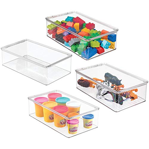 mDesign Juego de 4 cajas organizadoras para guardar juguetes – Juguetero apilable con tapa para habitación infantil – Organizador de plástico robusto para pinturas, manualidades, etc. – transparente