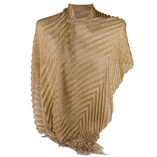 Emila Coprispalle oro donna elegante cerimonia a plissè con frange sciarpa dorata x ragazza foulard fular scialle lurex da matrimonio per abito da sera giorno primavera estate 2020 estivo Oro