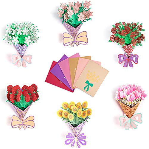 Flower Bouquet Pop Up Card. 3D Popup Greeting Cards for Valentine's Day, Mother's Day, Thanksgiving,...