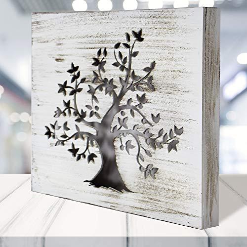 Cuadro Mandala de Pared - árbol de la Vida Calada, Fabricada artesanalmente en España- Mandala 3D Cuadrada Pintada a Mano (117 Blanco envejecido, 30x30 cm)