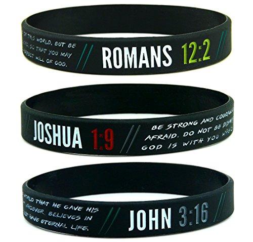 Christian Wristbands for Guys (6-pack) - John 3:16, Romans 12:2, and Joshua 1:9 - Religious Bible Gifts for Him Christian Men