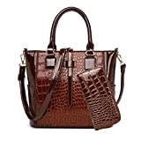 AINUOEY Damen Handtaschen Frauen Schultertaschen Umhängetaschen PU-Leder Bowlingtaschen Braun