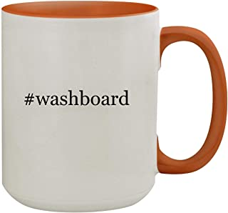 #washboard - 15oz Hashtag Colored Inner & Handle Ceramic Coffee Mug, Orange