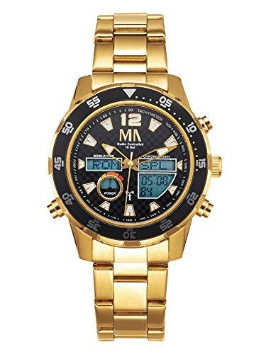 MeisterAnker Armbanduhr Worldtimer-Funk-Solar-Chronograph Gold mit Wechselband, Anzeige analog und digital wasserdicht
