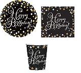 ILS I LOVE SHOPPING Kit Festa Coordinato Tavola Addobbi Party Set Compleanno con 8 Piatti 23cm, 8 Bicchieri e 20 tovaglioli (Happy Birthday, Set 8 Persone)