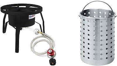 Black GasOne B-5450+50480 Gas ONE Burner with Cover Propane Stove 200,000 BTU Renewed