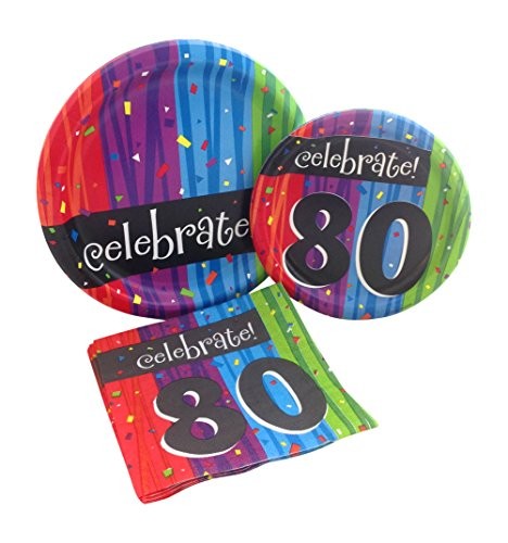 Celebrate 80 Party Supplies Bundle - Plates and Napkins