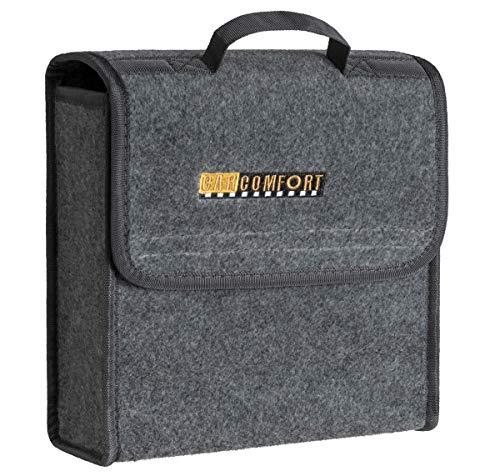 CarComfort praktische Kofferraum Auto KFZ Tasche S grau mit Klettverschluss+Druckknöpfen 29x28x13 cm, Werkzeugtasche, Auto Organizer