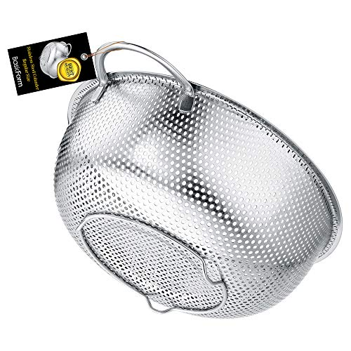 BasicForm 3Quart Stainless Steel Mesh Mircoperforated Colander – Strainer with Study Handle and Base