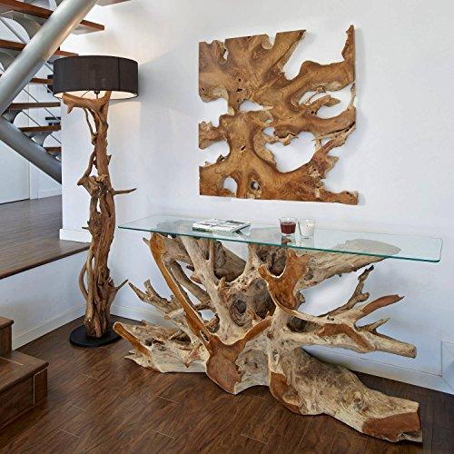 Möbel Bressmer Wurzel Konsole NAGA inklusive Glasplatte 140 cm | Massivholz Anrichte Sideboard in Handarbeit | Unikat aus Teak - der Eye-Catcher