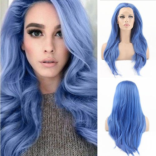 Blue Bird Lace anteriore parrucca sintetica diritta lunga parrucca blu, resistente al calore parrucche per donne nere