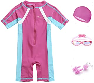 5 in 1 Swimming Suit for Girls Rash Guard Swimingsuit with Goggles, Swim Cap, Nose Clips, Ear Plugs for girls 2-12 years