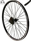 Redondo 26 Zoll Hinterrad Laufrad Hohlkammer V-Prof Felge + 7-Fach Kranz Schwarz
