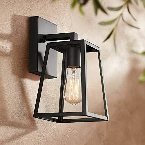 Arrington Modern Outdoor Wall Light Fixture Mystic Black 10 3/4 Clear Glass Antique Edison Style Bulb for Exterior House Porch Patio Deck - John Timberland