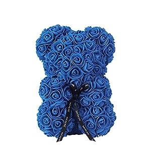 Fiery Tulip Rose Bear with Gift Box 25 cm Red Bear Rose Flower Artificial for Women Plush Bear-Sapphire Blue 25cm-,