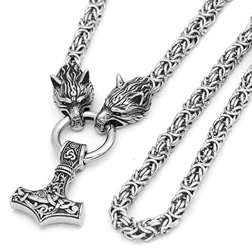 GuoShuang Wolf Head with Thor Mjolnir Pendant Necklace Stainless Steel - King Chain (20 INCH )