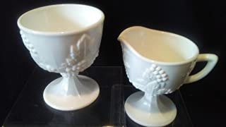 Indiana White Milk Glass Sugar Bowl and Creamer, Colony Harvest Footed Cream and Sugar, Colony Milk Glass Cream and Sugar