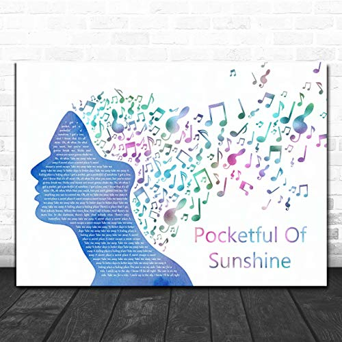 Pocketful of Sunshine Colourful Music Note Hair Song Lyric Print