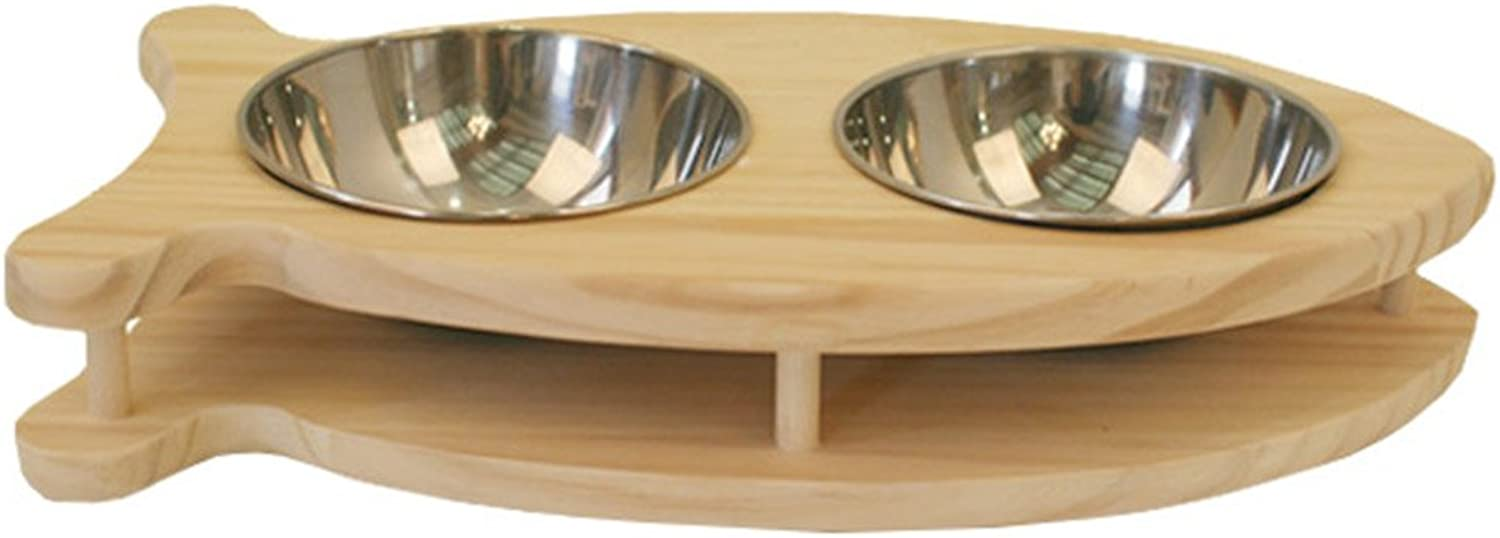 LUXYPET Pet Dish  Solid Pine Wood & Stainless Steel  (Fish A)