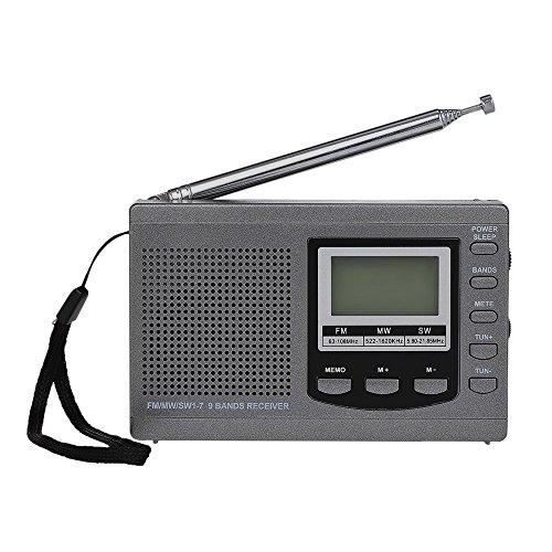 Gamogo Radio FM/Am/SW Receptor de Radio estéreo Digital multibanda Pantalla de Tiempo de Salida de Auricular Reloj Despertador Antena giratoria Externa